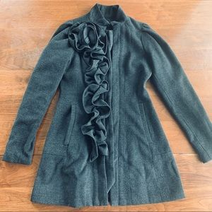 Anthropologie Ryu Gray Peacoat w/ florals accent
